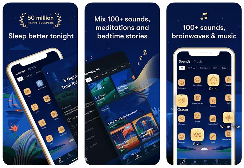 Zrzuty ekranu z aplikacji mobilnej: Relax Melodies: Sleep Sounds