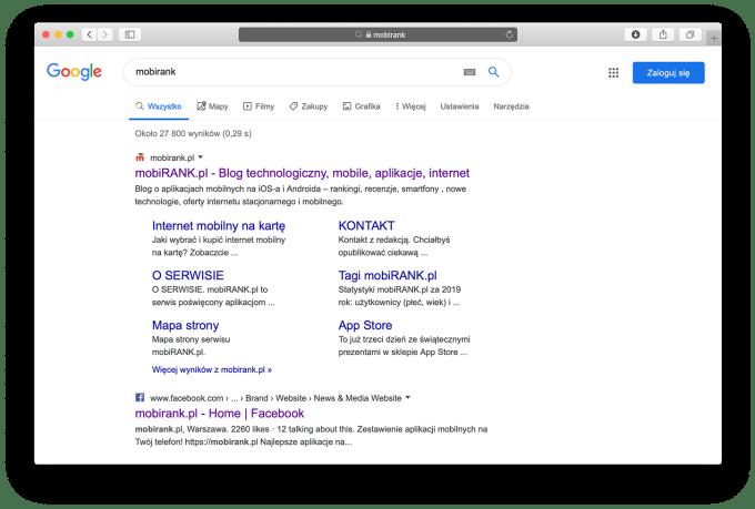 Wyniki wyszukiwania Google na komputerze z ikonami witryn i zmienionym wyglądem