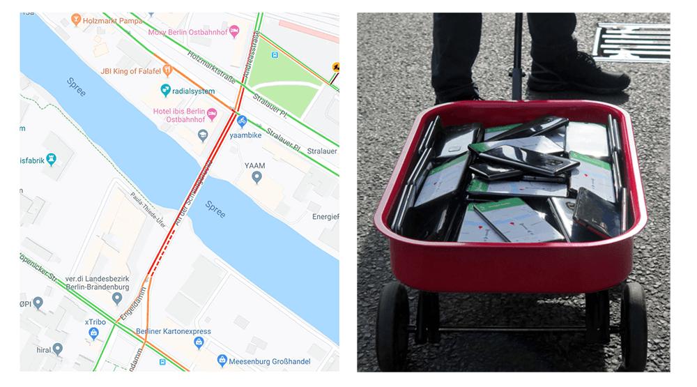 99 smartfonów w wózeczku może zakorkować ulice w Google Maps