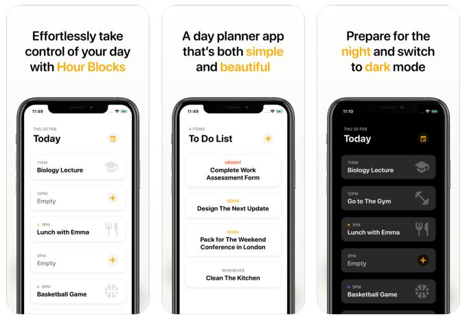 Zrzuty ekranu z aplikacji Hour Blocks: Day Planner