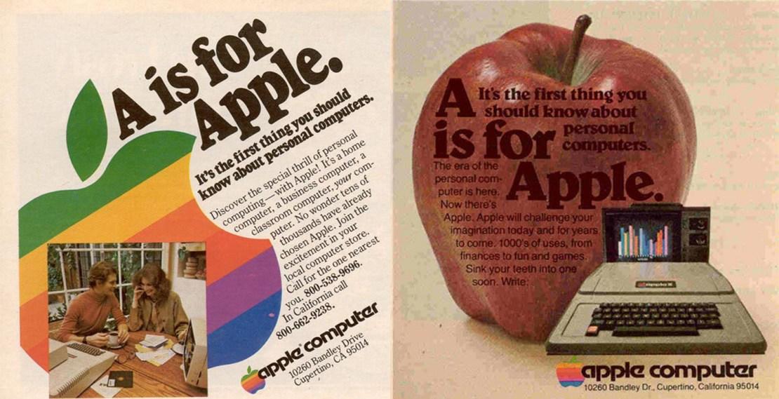 """Przykładowe reklamy prasowe """"A is for Apple"""" z 1977 roku"""