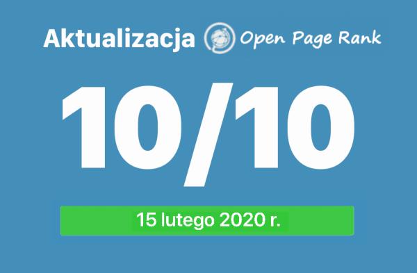Wskaźniki Open PageRank stron internetowych (luty 2020)