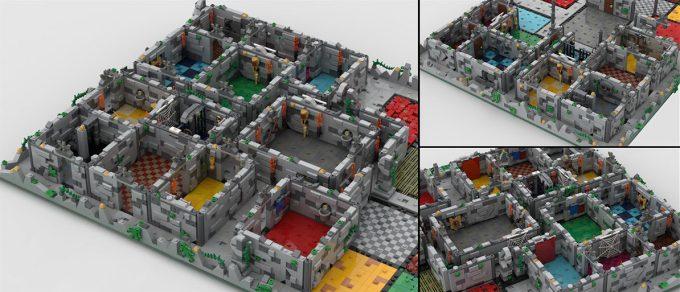 Mury z klocków LEGO na planszy do gry HeroQuest