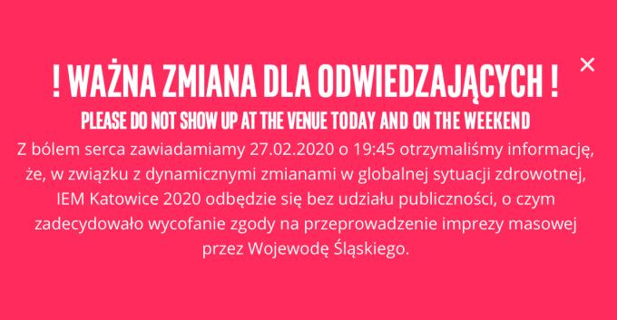 Komunikat IEM 2020 Katowice (27.02.2020)