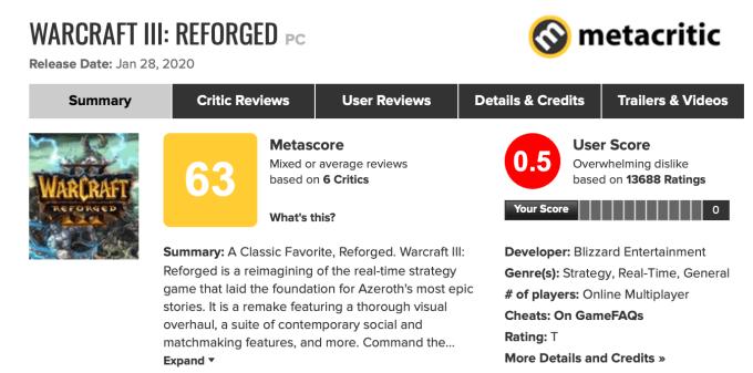 Warcraft III: Reforged (oceny na Metacrtic z 1 lutego 2020 r.)