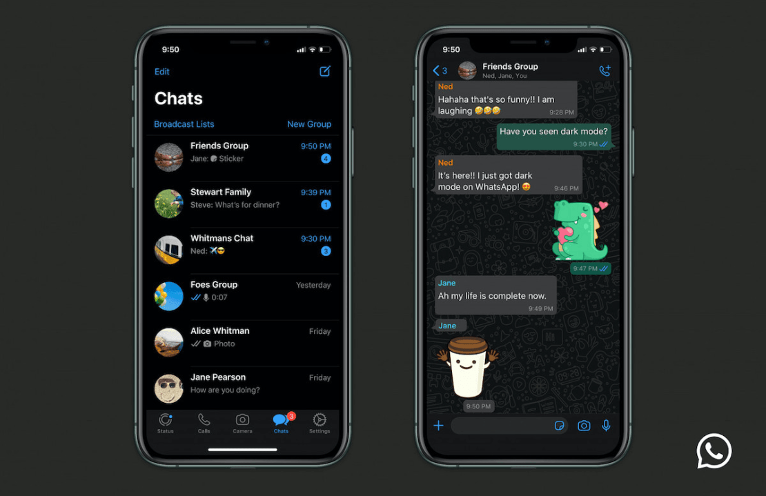Tryb ciemny w aplikacji WhatsApp na iOS-a i Androida