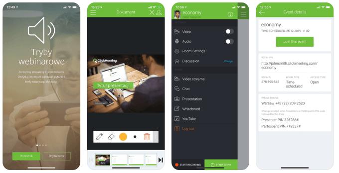 Zrzuty ekranu z aplikacji mobilnej ClickMeeting