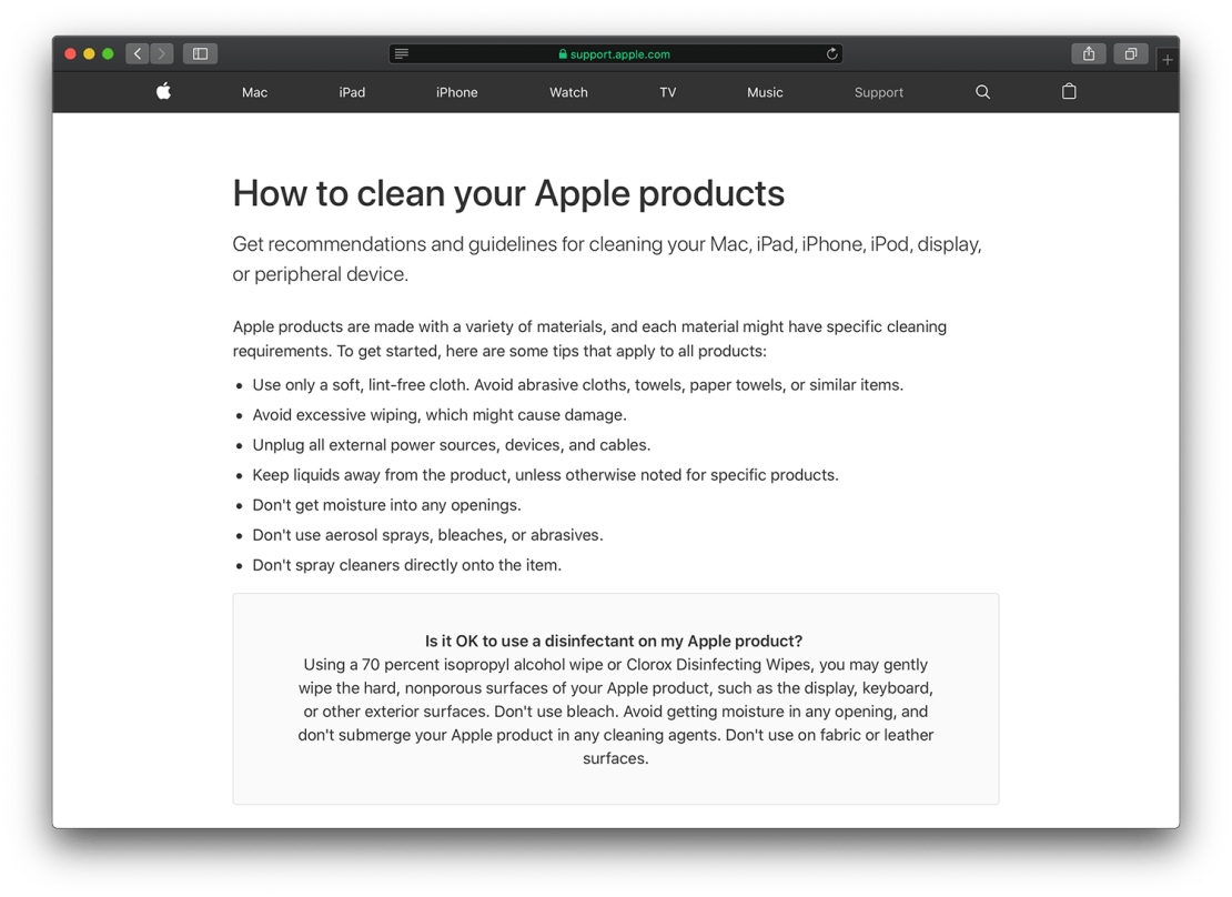 Apple Support – How to clean your Apple products (Published Date: March 09, 2020)