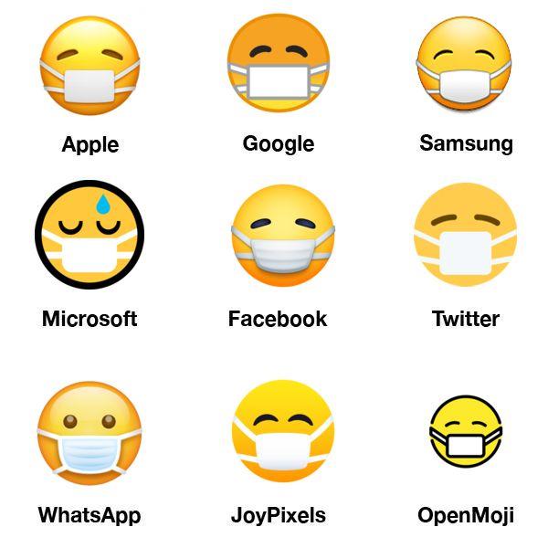 """Porównanie wyglądu emoji """"buźka z maseczką chirurgiczną"""" pod różnymi systemami"""