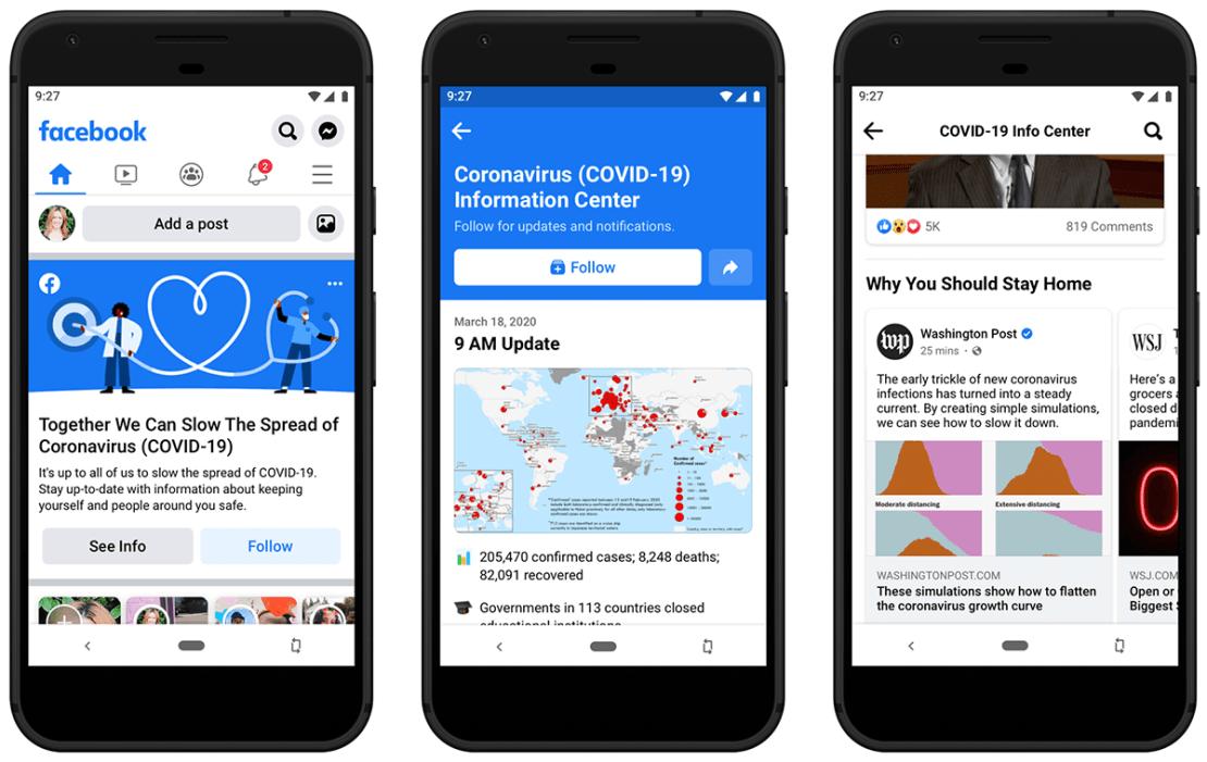 Centrum informacji o koronawirusie na Facebooku (aplikacja mobilna)
