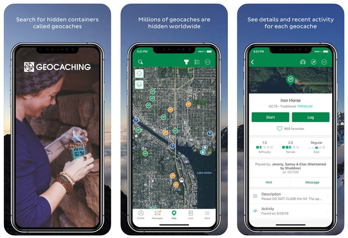 Zrzuty ekranu z aplikacji Geocaching®
