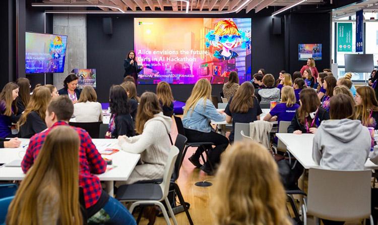 zdjęcie z hackathonu Girls in AI w Warszawie