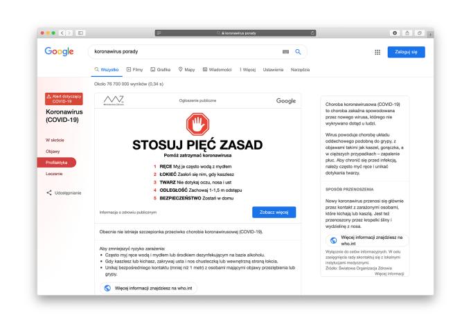 Porady Google'a na temat koronawirusa (COVID-19) w polskiej wersji wyszukiwarki