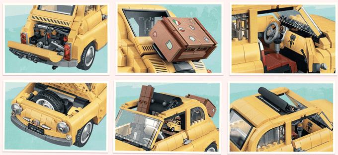 LEGO Fiat 500 Creator Expert - kolaż zdjęć