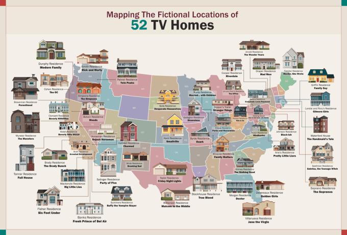 Mapa USA z zaznaczonymi lokalizacjami serialowych domów