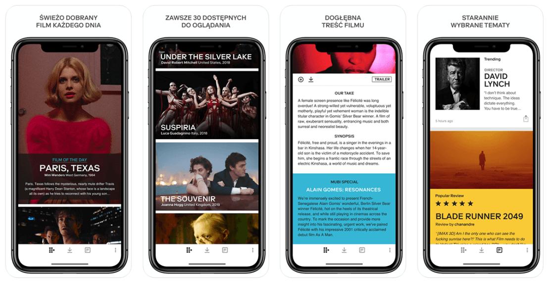 Zrzuty ekranu z aplikacji mobilnej MUBI