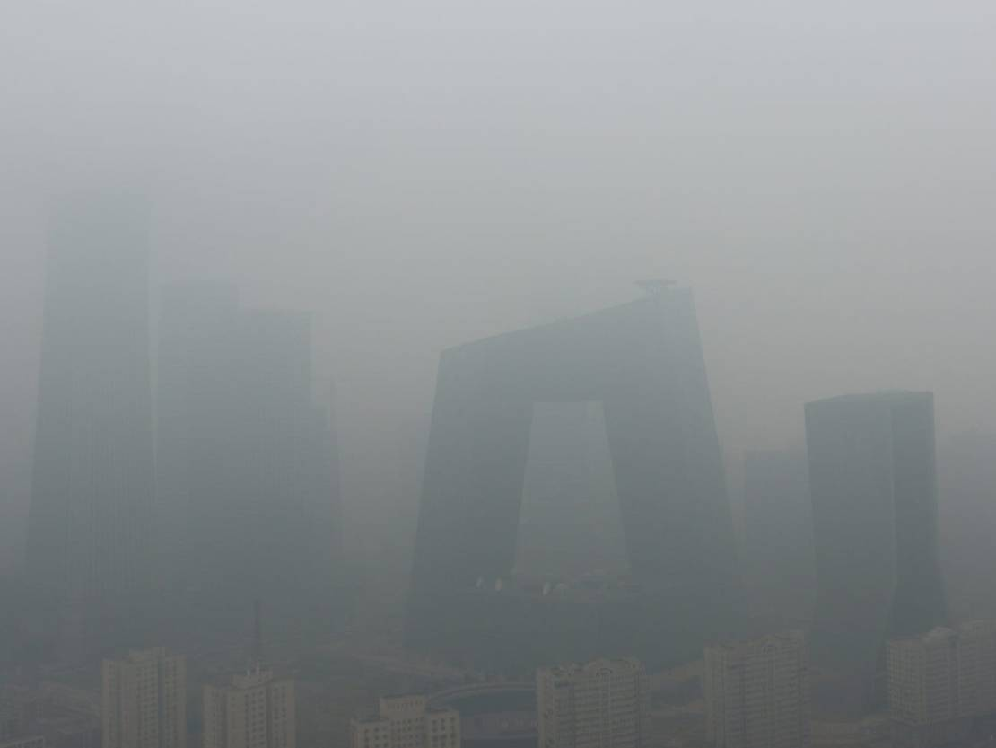 Zanieczyszczony Pekin 2 kwietnia 2018 r.