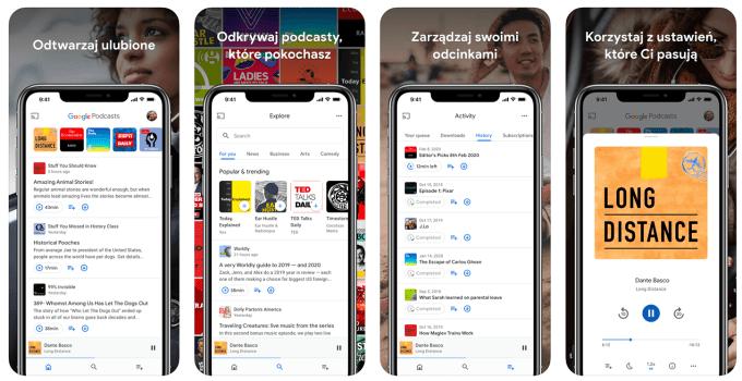 Zrzuty ekranu z aplikacji mobilnej Podcasty Google (iPhone)