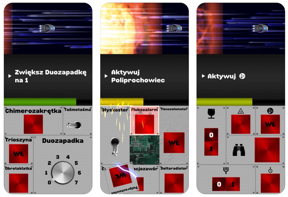 """Zrzuty ekranu z gry mobilnej """"Spaceteam"""""""