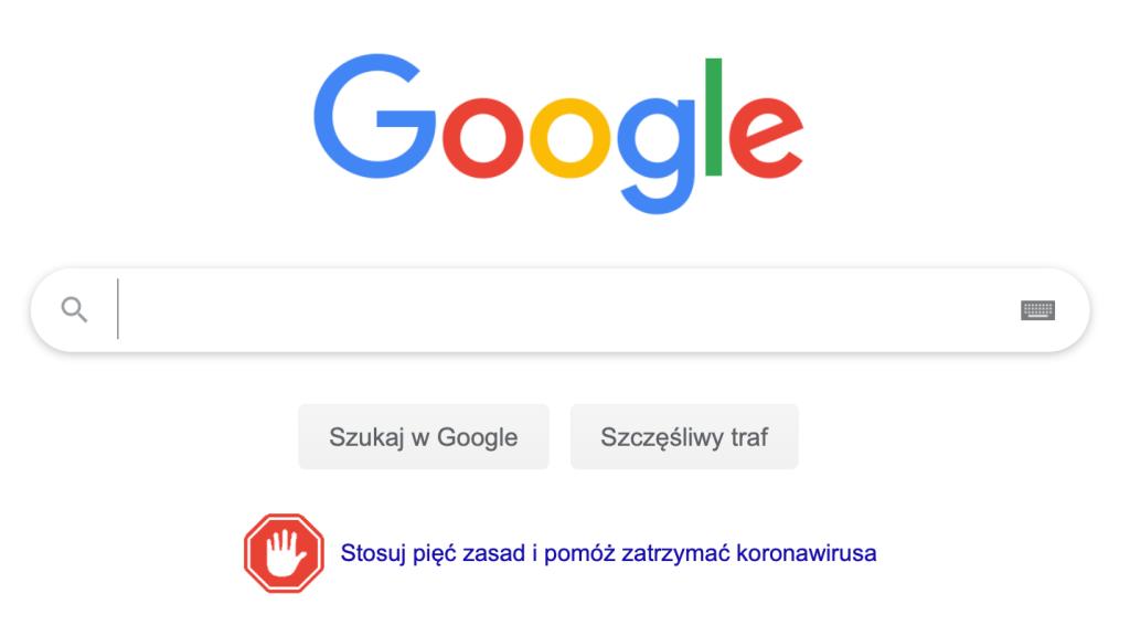 Strona główna wyszukiwarki Google z Alertem dotyczącym koronawirusa (COVID-19)