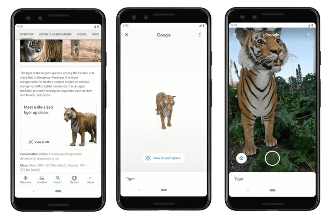 Wyświetlanie zwierząt w 3D i AR z wyszukiwarki Google na smartfonie