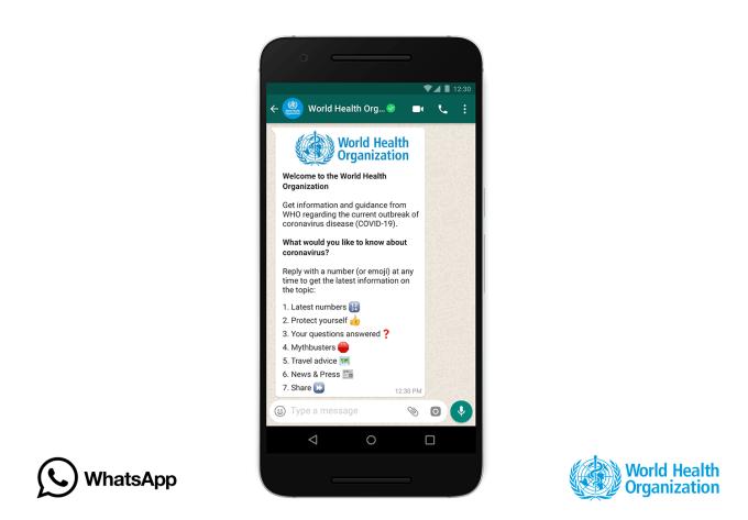 Chatbot WHO w aplikacji WhatsApp dotyczący koronawirusa