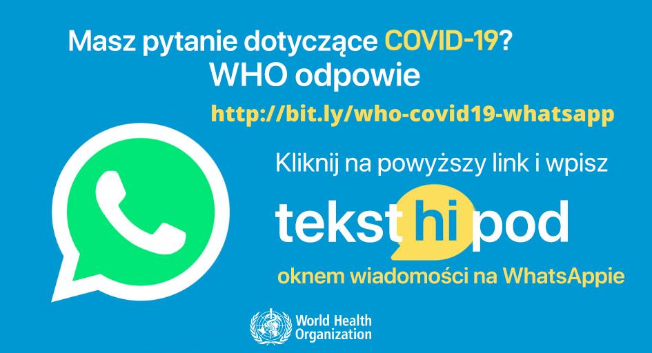 WHO Health Alert odpowie na pytania dotyczące COVID-19 na WhatsAppie