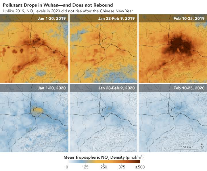 Porównanie jakości powietrza w Wuhan w tym samym okresie w latach 2019 i 2020