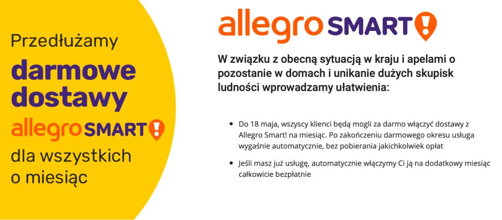Darmowe dostawy z Allegro Smart przedłużone o kolejny miesiąc