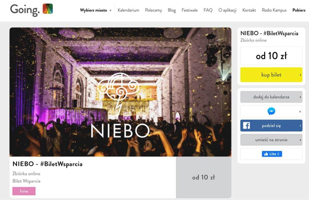 Zrzut ekranu ze strony Going. – zakup Biletu Wsparcia dla klubu Niebo