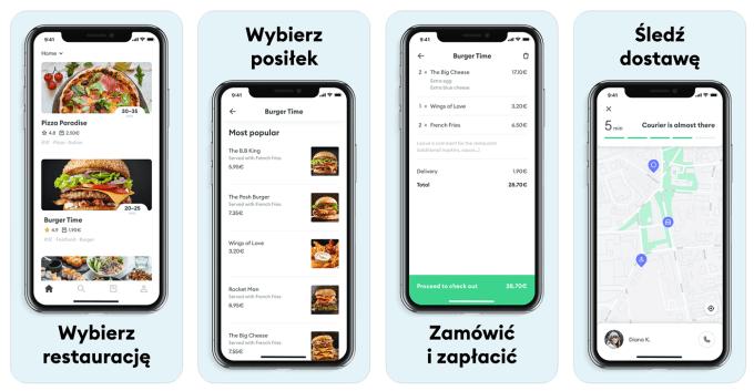 Zrzuty ekranu z aplikacji mobilnej Bolt Food