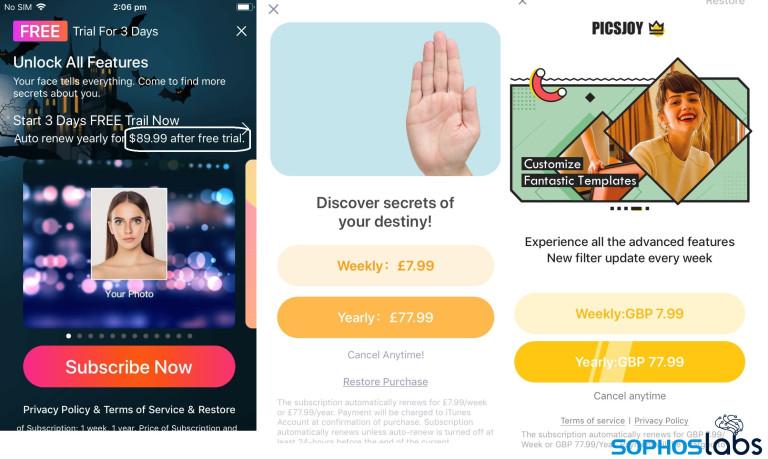 """Przykłady """"fleeceware"""" (aplikacje mobilne)"""