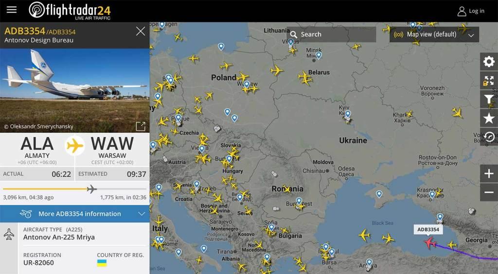 Lot ADB3354 – trasa lotu Mirji do Warszawy