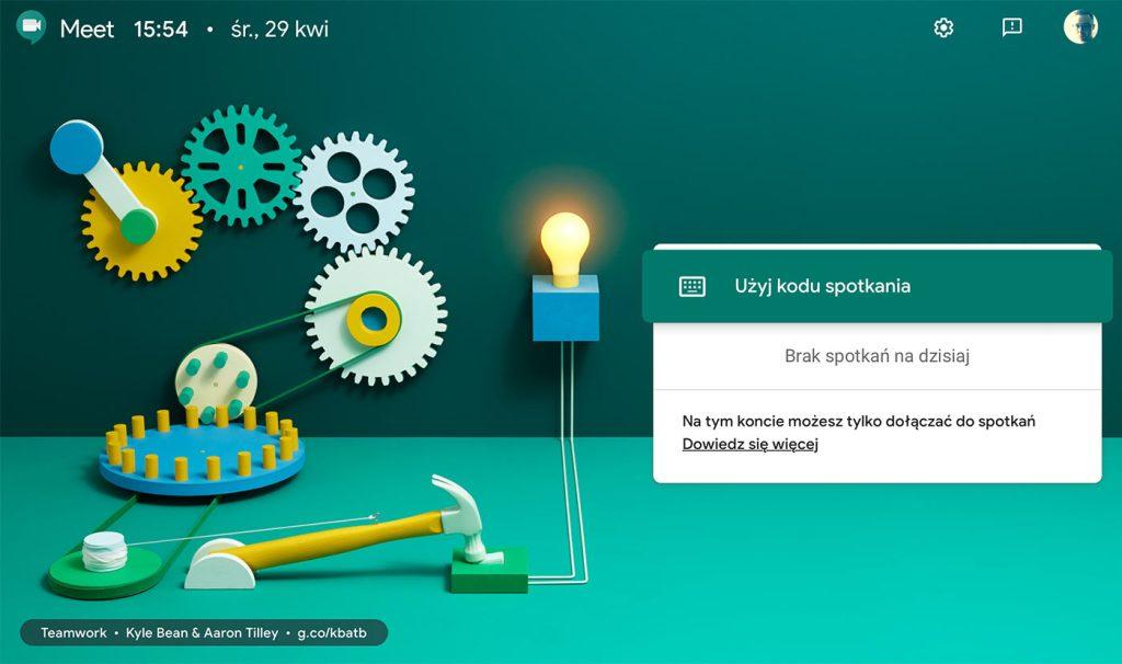 Ekran główny Google Meet w przeglądarce internetowej