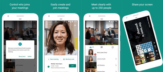 Zrzuty ekranu z aplikacji Google Meet