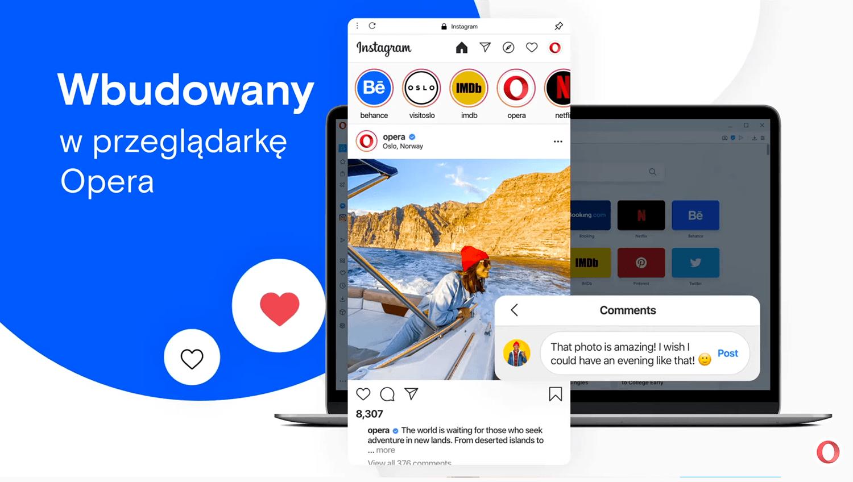 Instagram wbudowany w przeglądarce Opera 68 na komputery