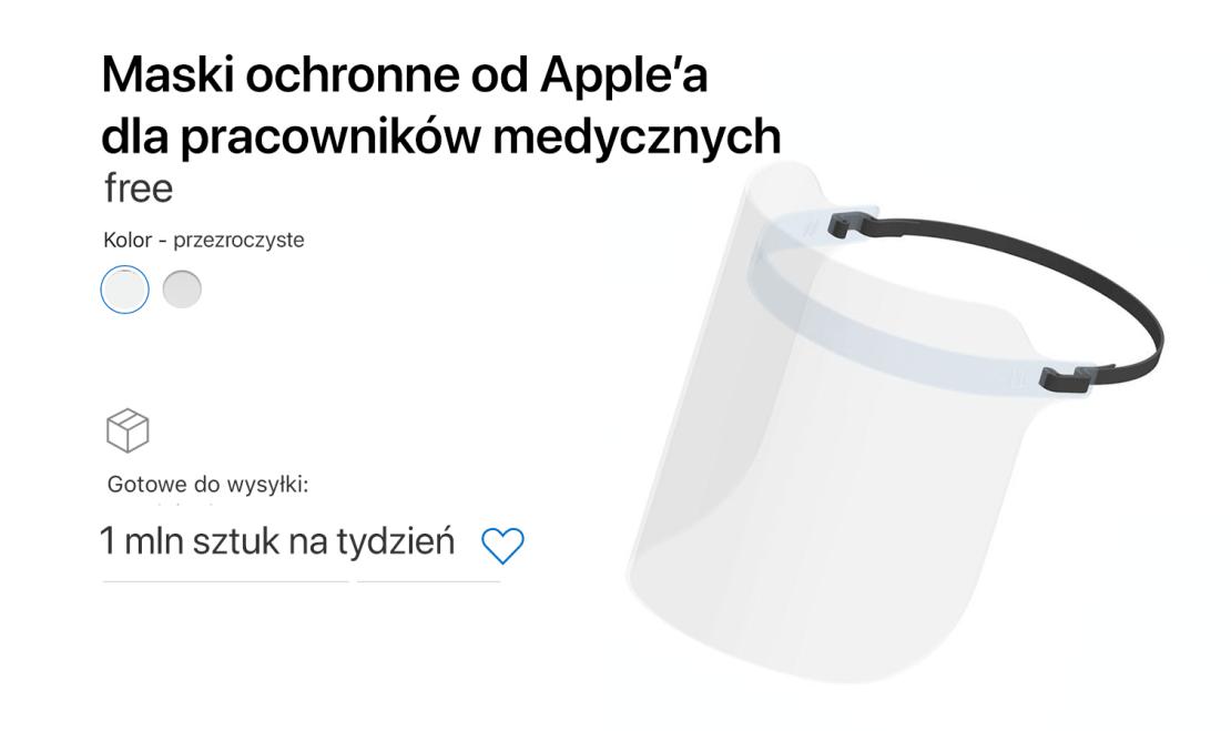 Maski ochronne dla opieki medycznej od Apple (epidemia COVID-19)