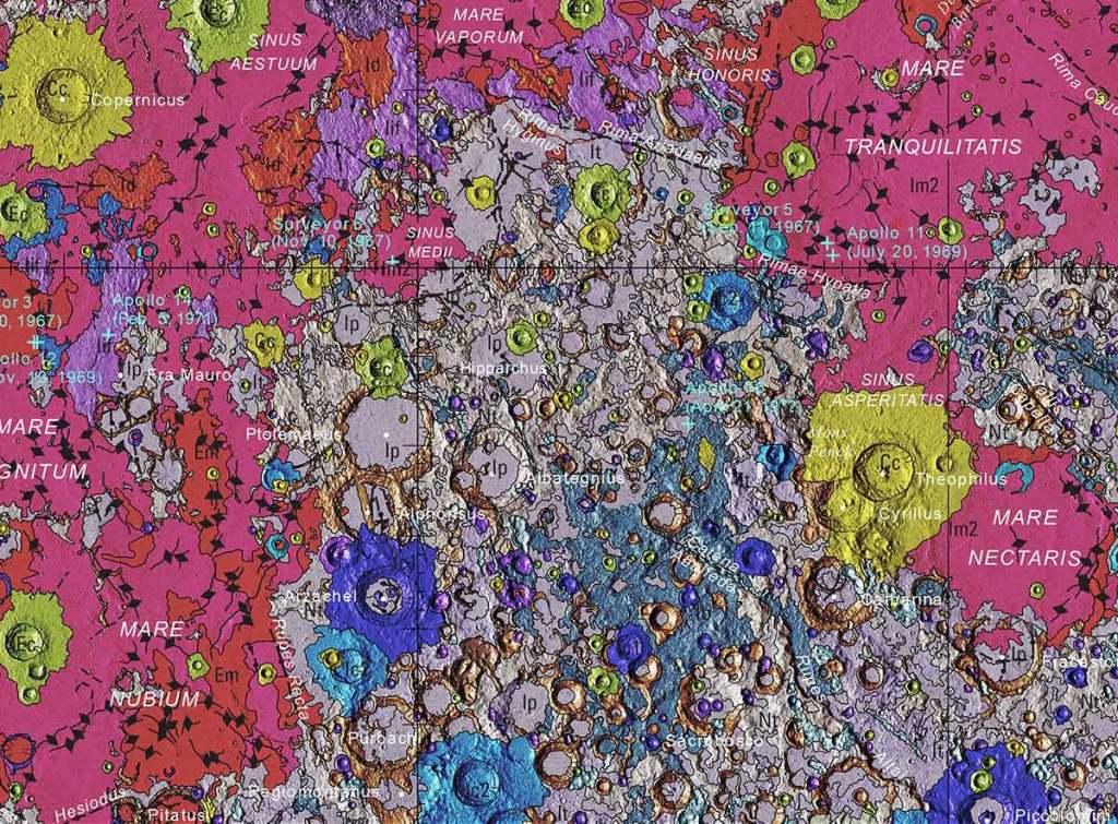 Fragment mapy geologicznej Księżyca (USGS, 2020 rok)
