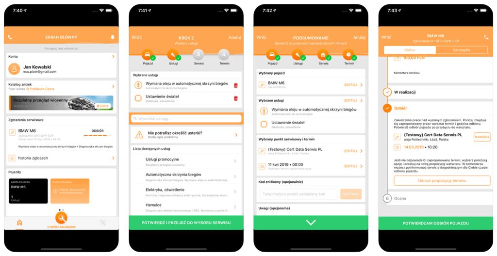 Zrzuty ekranu z aplikacji mobilnej ProfiAuto