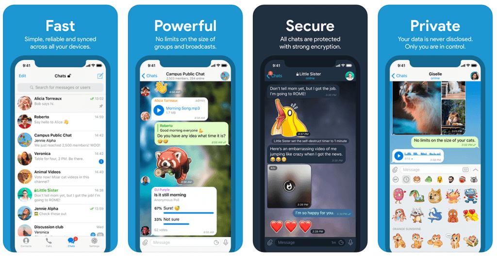 Zrzuty ekranu z komunikatora mobilnego Telegram