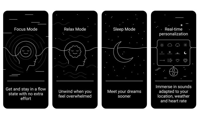 """Zrzuty ekranu z aplikacji mobilnej """"Endel: Focus, Relax, and Sleep soundscapes"""""""