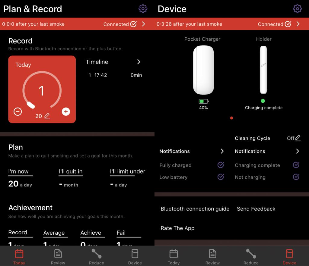 Zrzuty ekranu z aplikacji Quit Sticks Today for iQOS (tryb ciemny) - zarządzanie IQOS-em