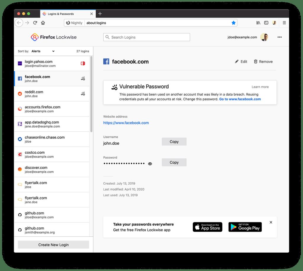 Alert Lockwise dotyczący hasła w przeglądarce Firefox 76
