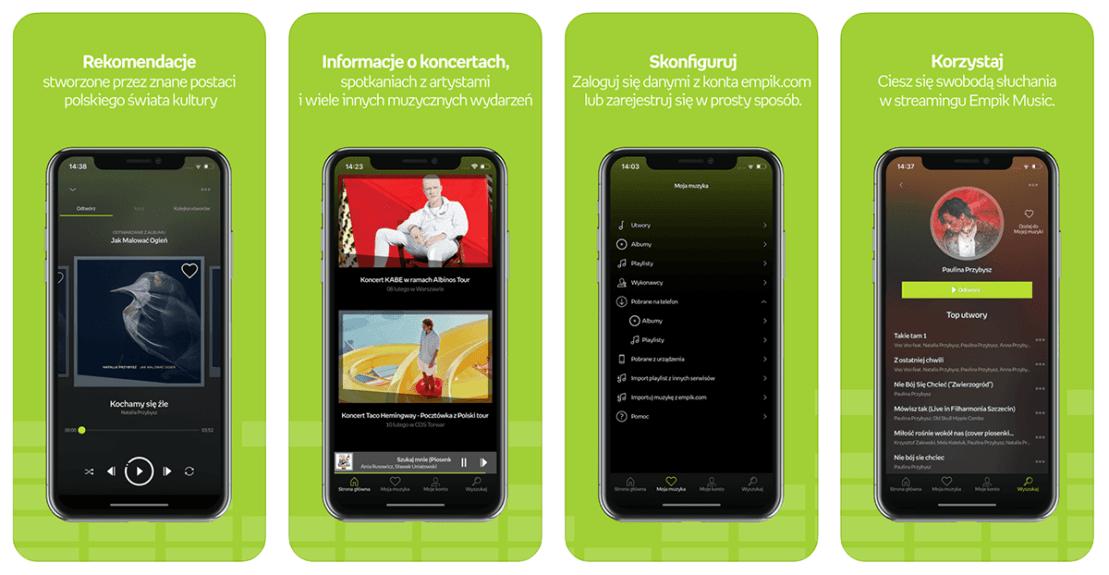 Zrzuty ekranu z aplikacji mobilnej Empik Music