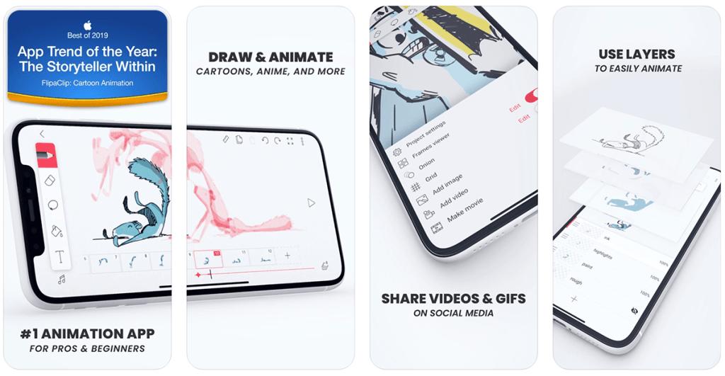 Aplikacja mobilna do tworzenia kineografów: FlipaClip: Cartoon Animation