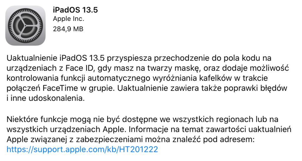 Uaktualnienie iPadOS 13.5 dla iPada