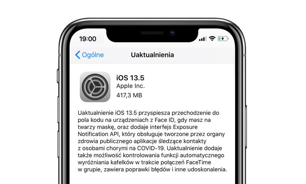 Uaktualnienie iOS 13.5 w trybie OTA dla iPhone'a