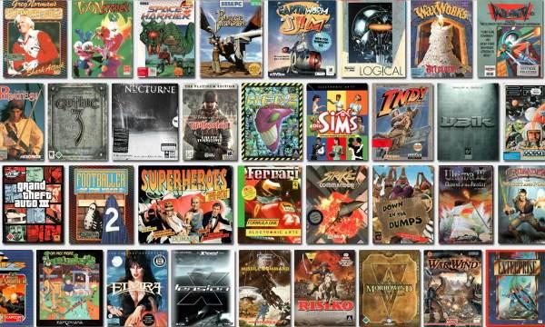 Kolekcja wirtualnych pudełek kultowych gier na PC