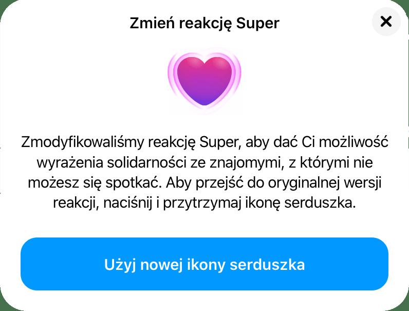 Użyj nowej ikony serduszka (Super) w Messengerze