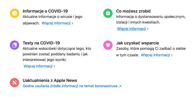 Polskojęzyczne sekcje o COVID-19 na stronach Apple'a